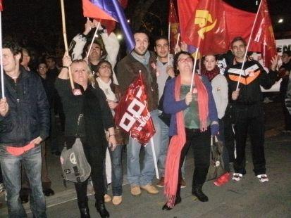 IU  y PCE en la manifestacion de Badajoz