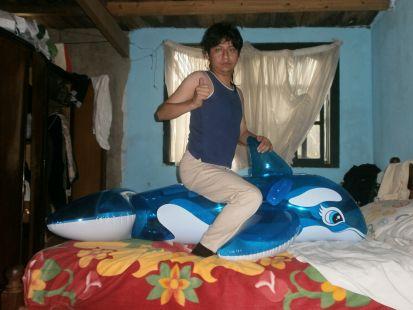 Yashaii Moran and inflatable whale