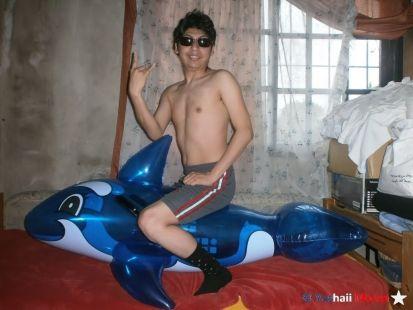 Yashaii Moran and her inflatable whale