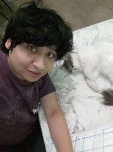 Yashaii Moran and her cat