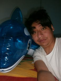 Yashaii Moran and her inflatable whale